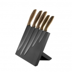 PLATINET 5 BLACK KNIVES SET WOODEN HANDLE WITH BLACK MAGNETIC BOARD
