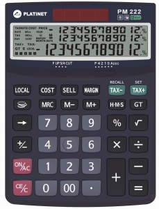 PLATINET CALCULATOR PM222TE 12D TAX MAR 3 LINES DISPLAY [41066]