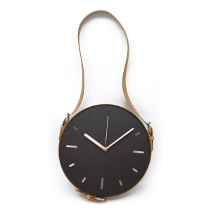 PLATINET WALL CLOCK BLACK WITH PU LEATHER BROWN BELT