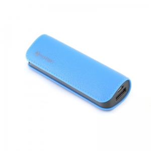PLATINET POWER BANK LEATHER 2600mAh  BLUE + microUSB cable [43405]