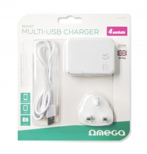 OMEGA CHARGER 4-PORT USB 4A WHITE UK plug [42673]