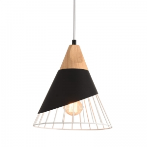 PLATINET PENDANT LAMP IRIS P150369 E27 METAL+WOOD BLACK 25x25 [44023]