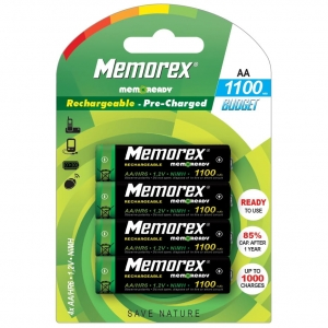 MEMOREX RECHARGEABLE ACCUMULATOR 1100mAh R6/AA x 4 BL Ready Budget DECT A0785