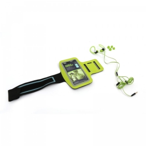PLATINET IN-EAR EARPHONES + MIC SPORT + ARMBAND PM1070 GREEN [42928]