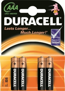 DURACELL BATTERY ALKALINE BASIC LR03/AAA  MN2400 4BP Blister *4