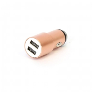 OMEGA CAR CHARGER METAL 2xUSB 5V 2.1A ROSE GOLD [44251]
