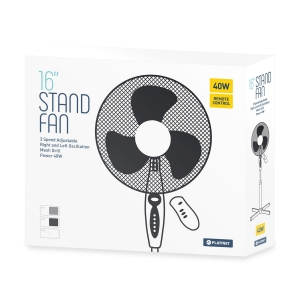 "PLATINET REMOTE STAND FAN 16"" WHITE [44749]"