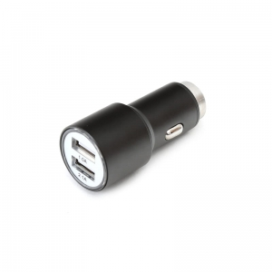 OMEGA CAR CHARGER METAL 2xUSB 5V 2.1A BLACK [43342]