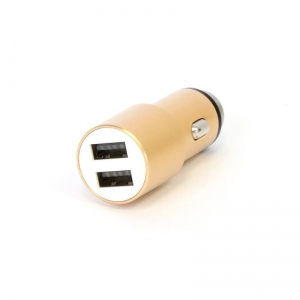 OMEGA CAR CHARGER METAL 2xUSB 5V 2.1A GOLD [44250]