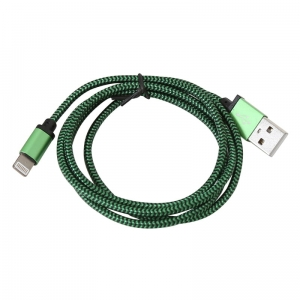 PLATINET ERIS USB LIGHTNING FABRIC BRAIDED CABLE 1M GREEN