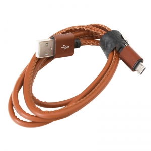 PLATINET HERA MICRO USB TO USB LEATHER CABLE 1M 2,4A BROWN [43293]