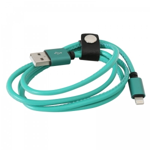 PLATINET ASPER USB LIGHTNING LEATHER CABLE 1M 2,4A GREEN [43299]