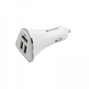 PLATINET CAR CHARGER 3xUSB 5,2A + microUSB cable 1m WHITE [43722]