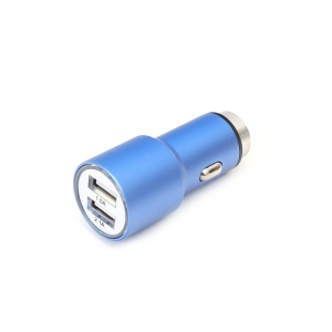 OMEGA CAR CHARGER METAL 2xUSB 5V 2.1A BLUE [43343]