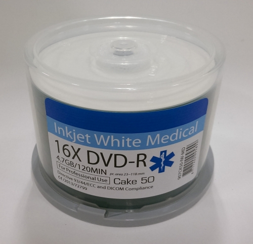 TRAXDATA DVD-R 4,7GB 16X INKJET FF PRINTABLE MEDICAL CAKE*50 907CK50-IW-MD